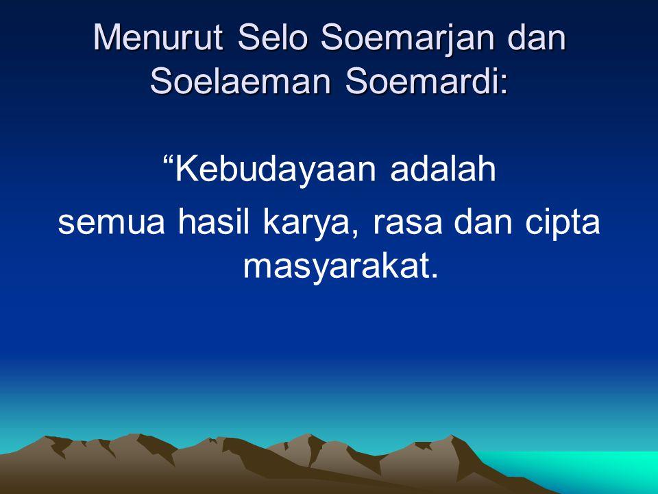 Menurut Selo Soemarjan dan Soelaeman Soemardi: