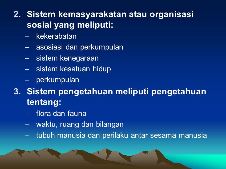 Sistem kemasyarakatan atau organisasi sosial yang meliputi: