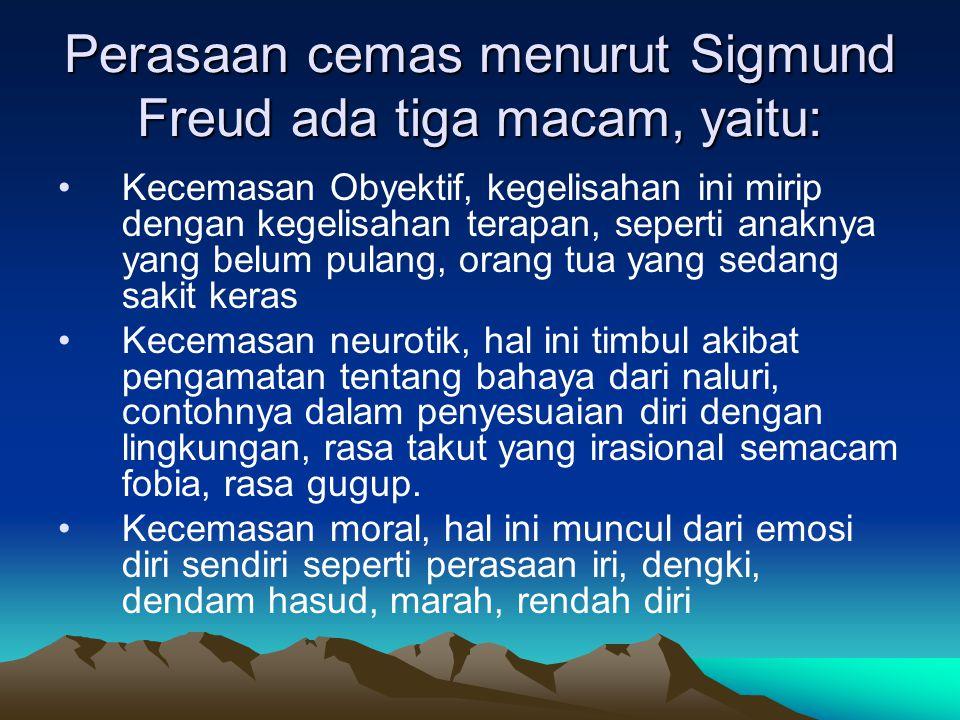 Perasaan cemas menurut Sigmund Freud ada tiga macam, yaitu: