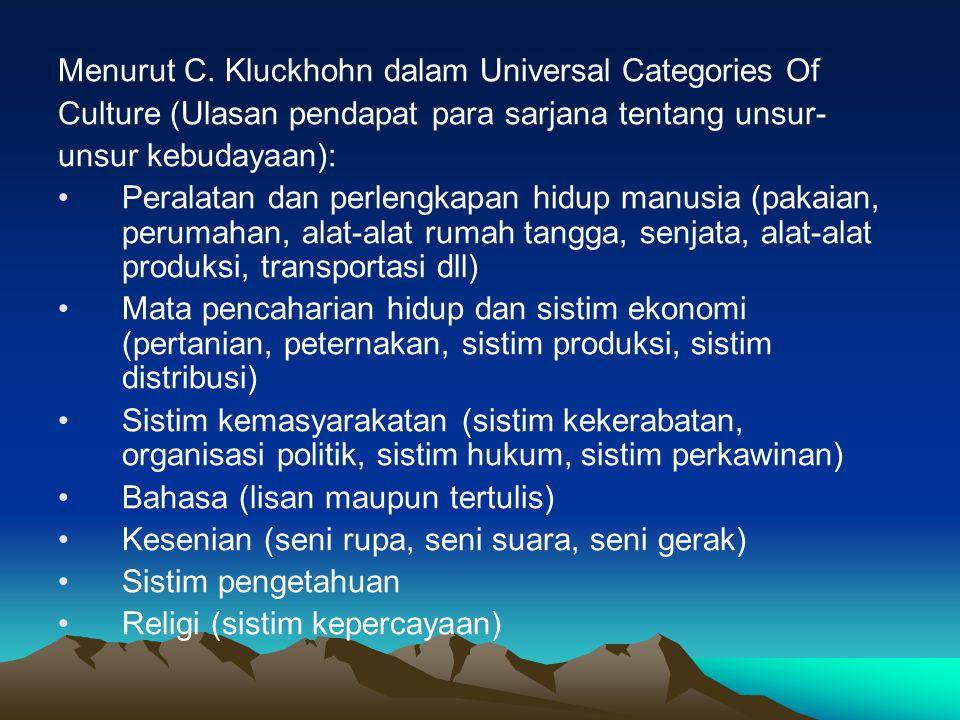 Menurut C. Kluckhohn dalam Universal Categories Of