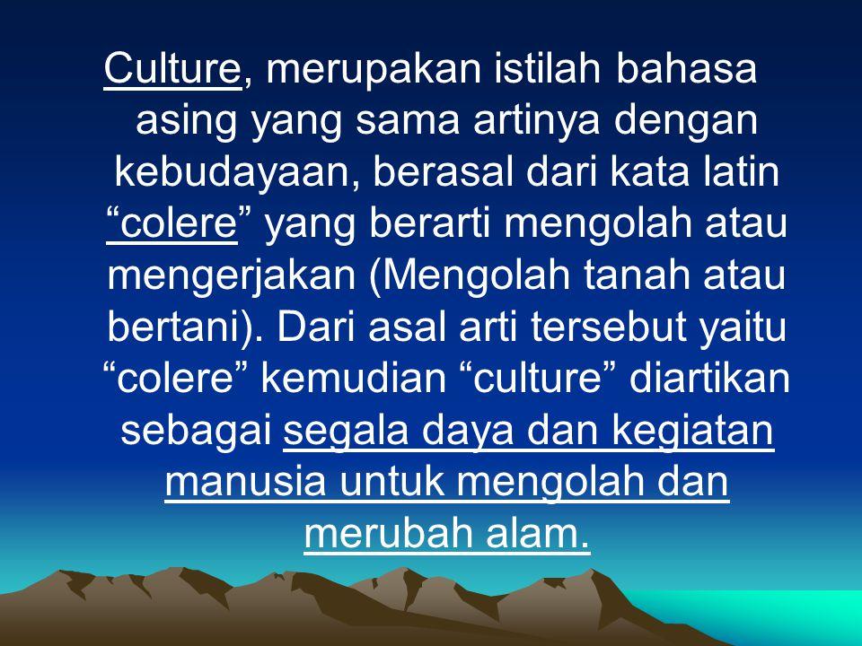 Culture, merupakan istilah bahasa asing yang sama artinya dengan kebudayaan, berasal dari kata latin colere yang berarti mengolah atau mengerjakan (Mengolah tanah atau bertani).