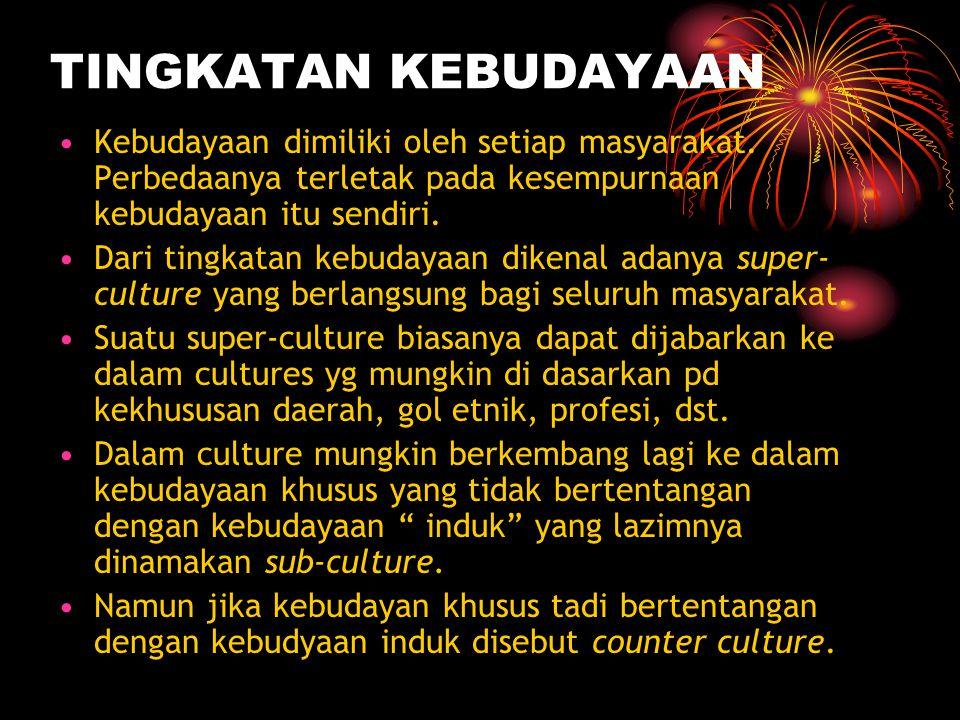 TINGKATAN KEBUDAYAAN Kebudayaan dimiliki oleh setiap masyarakat. Perbedaanya terletak pada kesempurnaan kebudayaan itu sendiri.