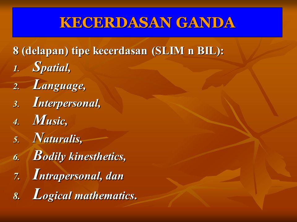 Intrapersonal, dan Logical mathematics. KECERDASAN GANDA Spatial,