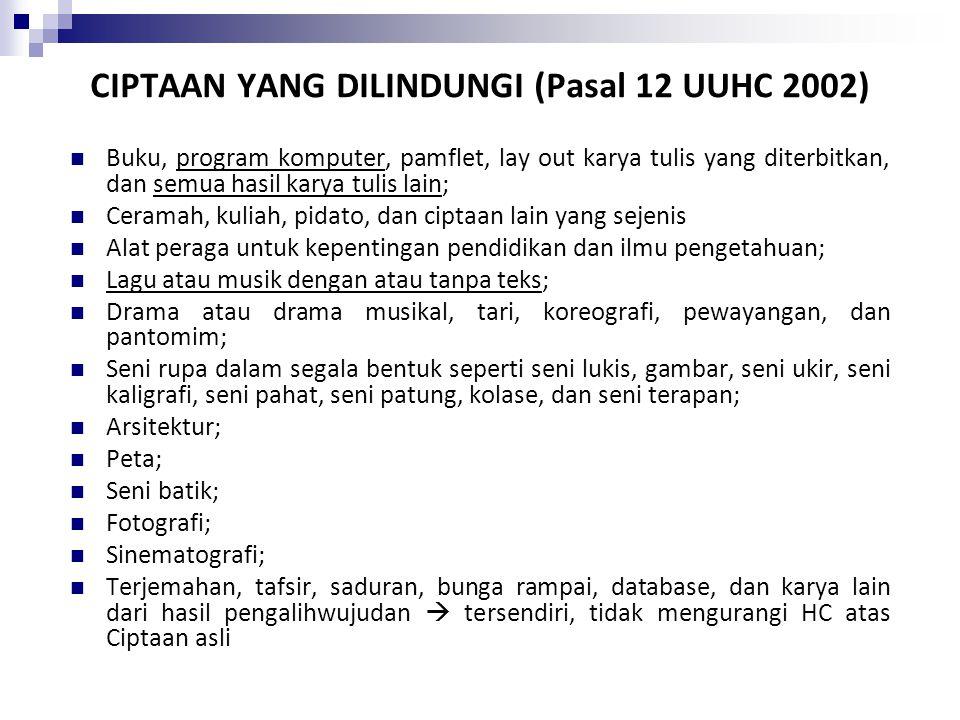 CIPTAAN YANG DILINDUNGI (Pasal 12 UUHC 2002)