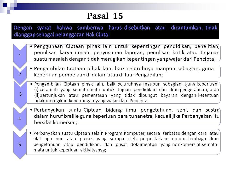 Pasal 15 Dengan syarat bahwa sumbernya harus disebutkan atau dicantumkan, tidak dianggap sebagai pelanggaran Hak Cipta:
