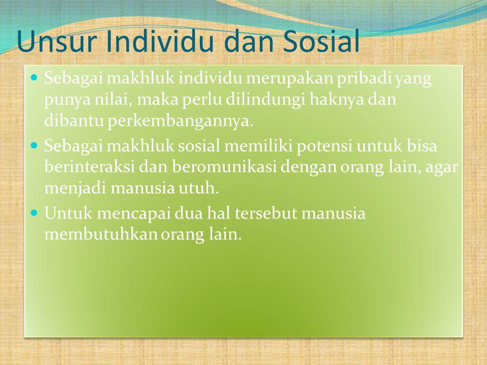 Unsur Individu dan Sosial