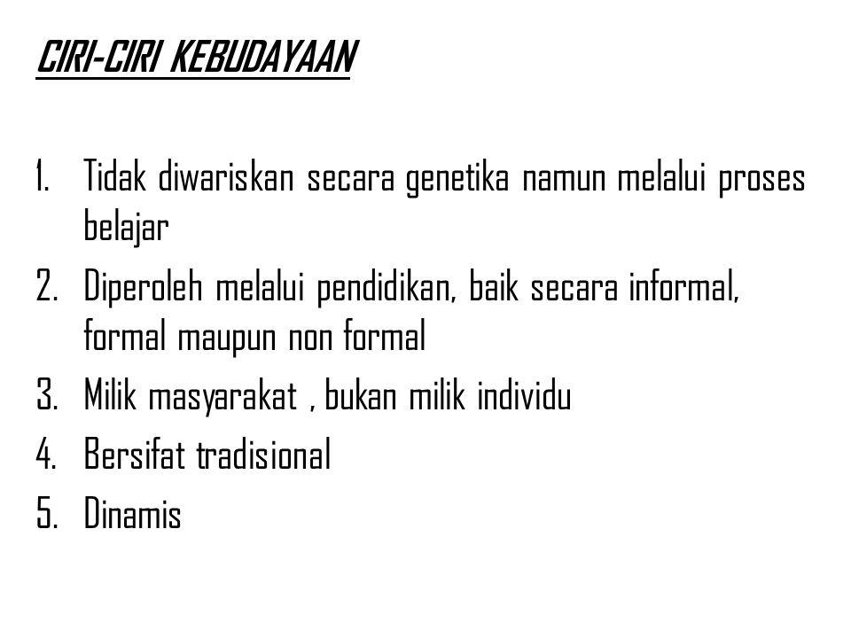 CIRI-CIRI KEBUDAYAAN Tidak diwariskan secara genetika namun melalui proses belajar.