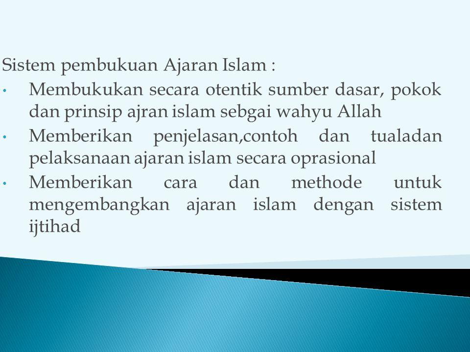 Sistem pembukuan Ajaran Islam :