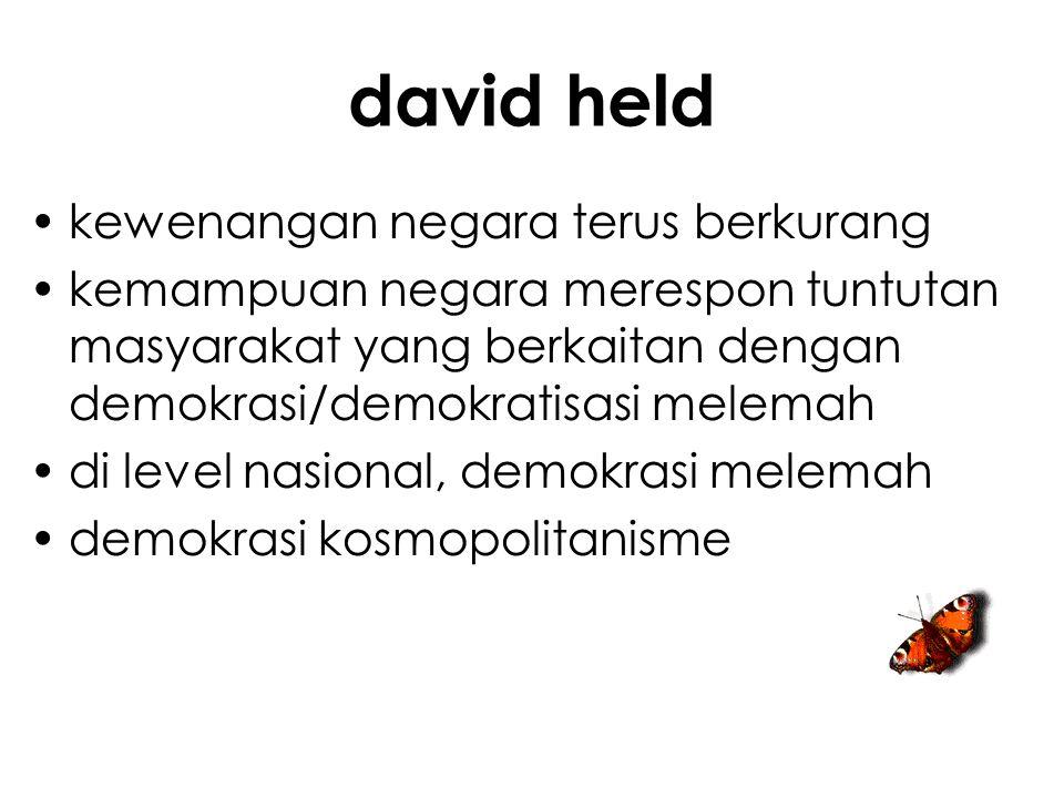 david held kewenangan negara terus berkurang