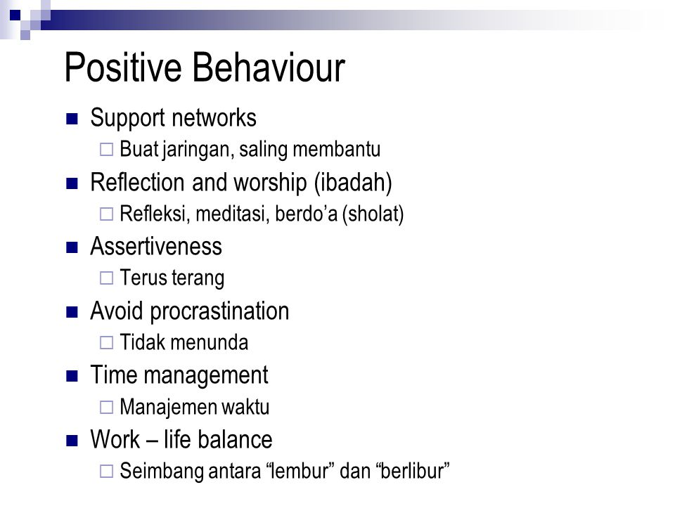 Positive Behaviour Support networks Reflection and worship (ibadah)