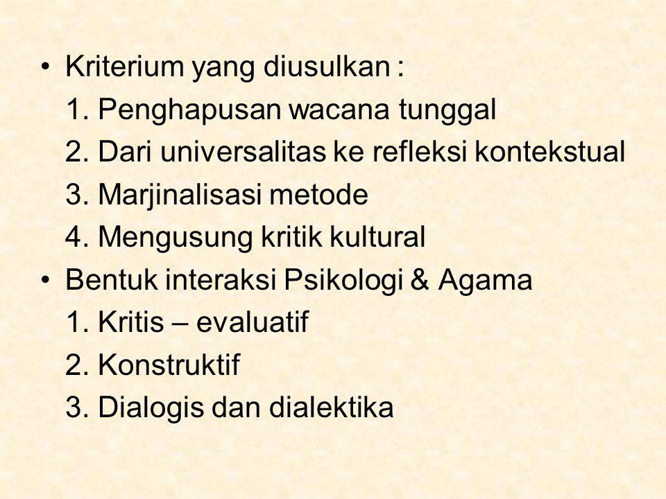 Kriterium yang diusulkan :