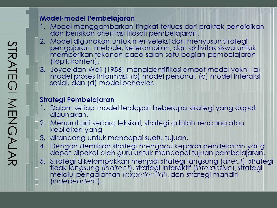 STRATEGI MENGAJAR Model-model Pembelajaran