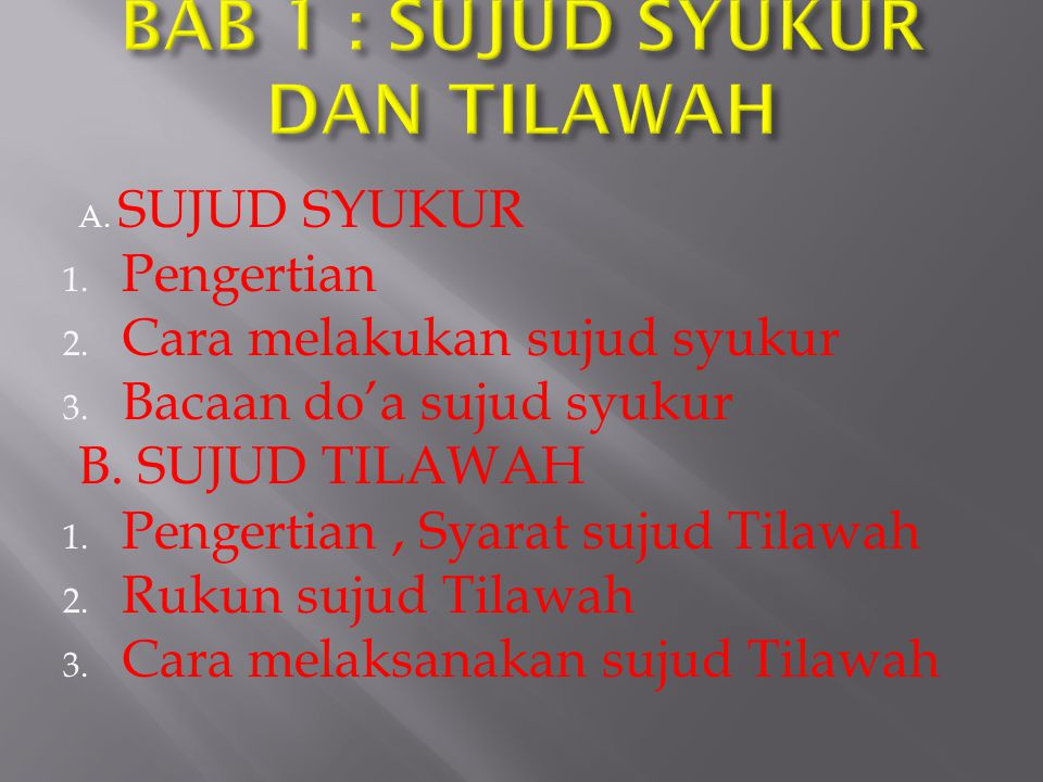 BAB 1 : SUJUD SYUKUR DAN TILAWAH