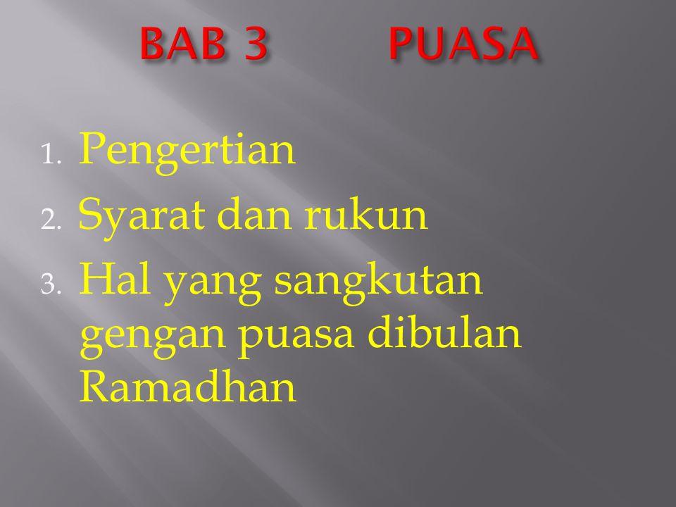BAB 3 PUASA Pengertian Syarat dan rukun Hal yang sangkutan gengan puasa dibulan Ramadhan