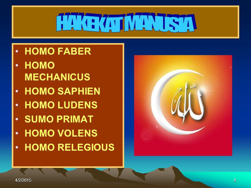 HAKEKAT MANUSIA HOMO FABER HOMO MECHANICUS HOMO SAPHIEN HOMO LUDENS
