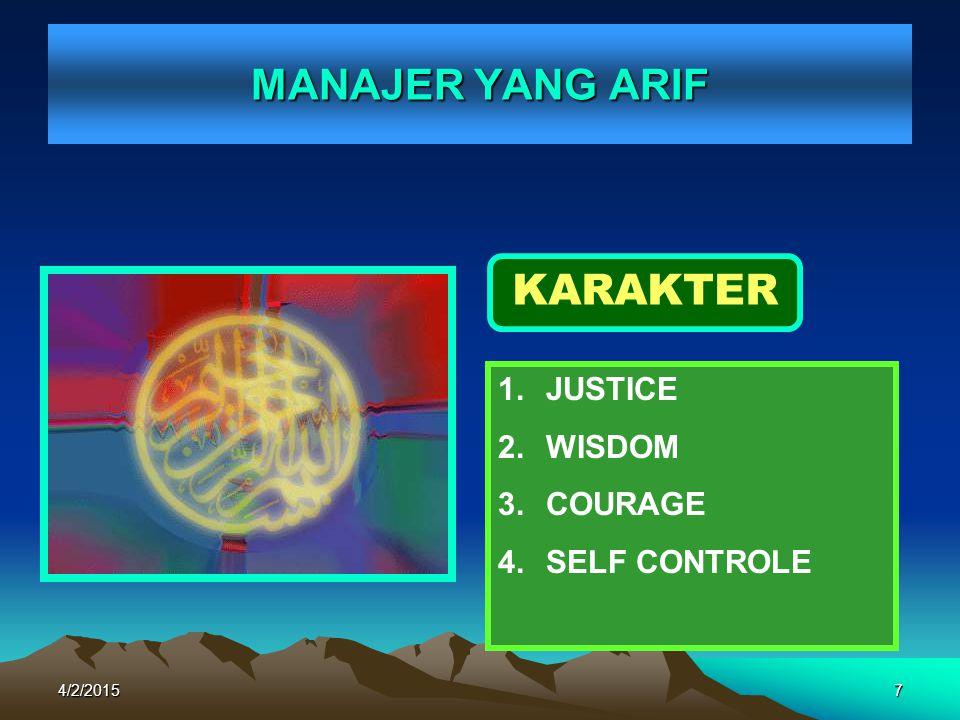 MANAJER YANG ARIF KARAKTER JUSTICE WISDOM COURAGE SELF CONTROLE