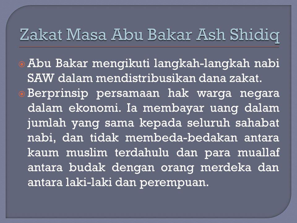 Zakat Masa Abu Bakar Ash Shidiq