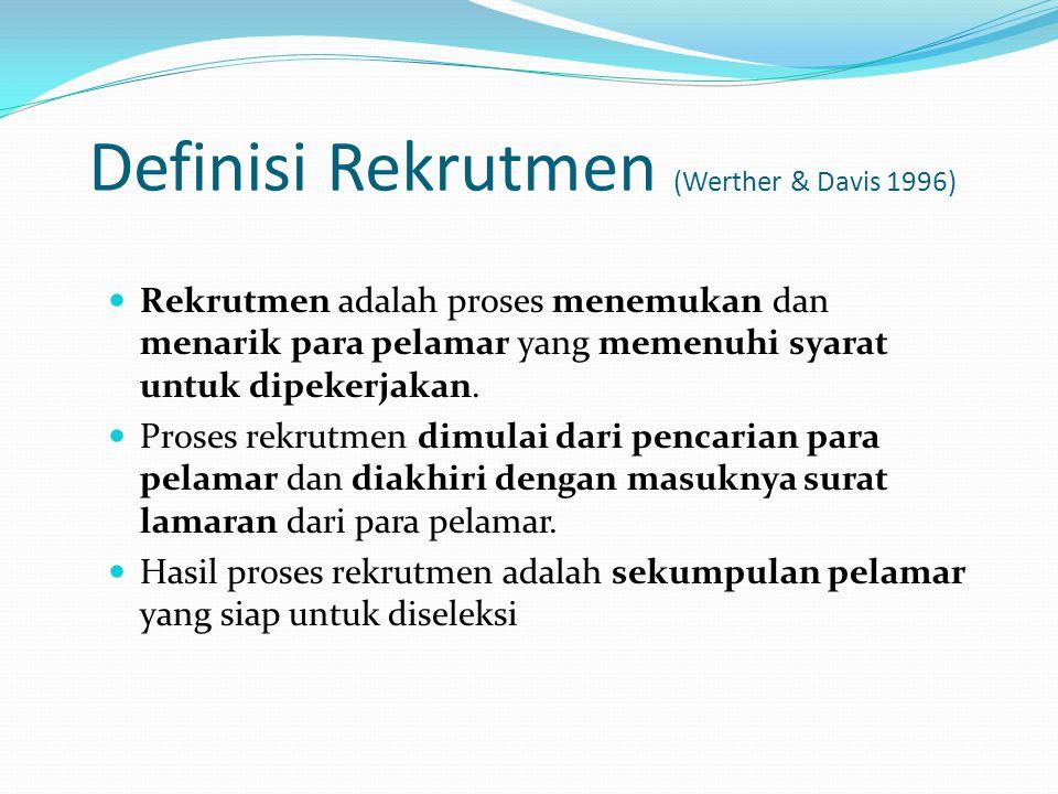Definisi Rekrutmen (Werther & Davis 1996)
