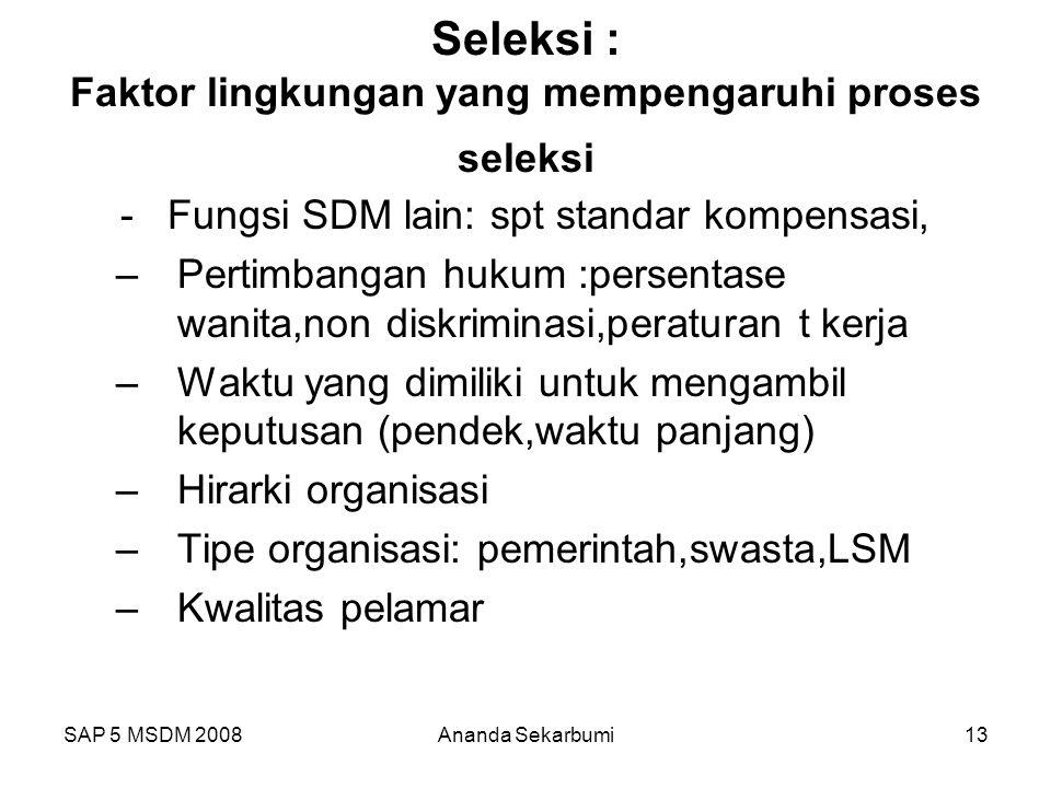 Seleksi : Faktor lingkungan yang mempengaruhi proses seleksi
