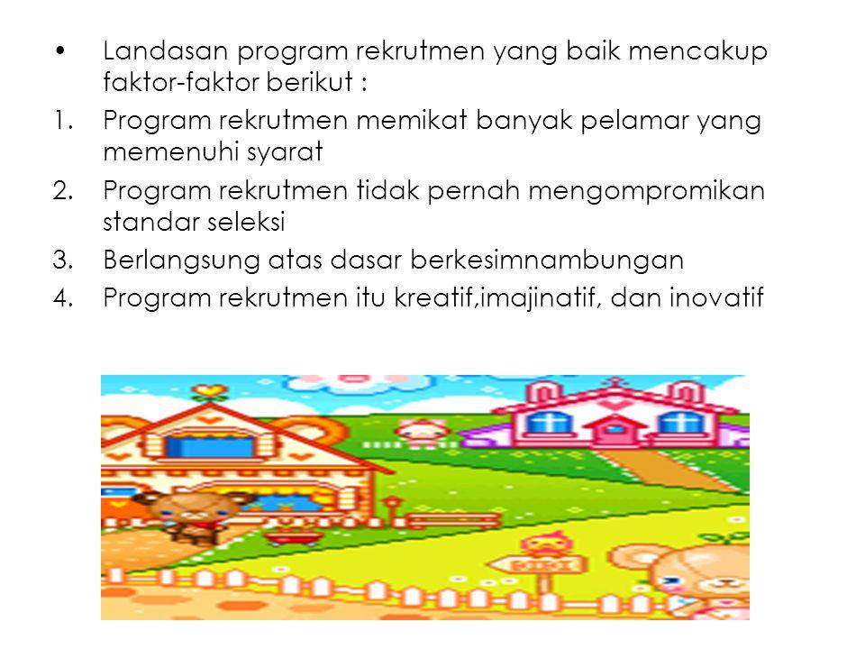 Landasan program rekrutmen yang baik mencakup faktor-faktor berikut :