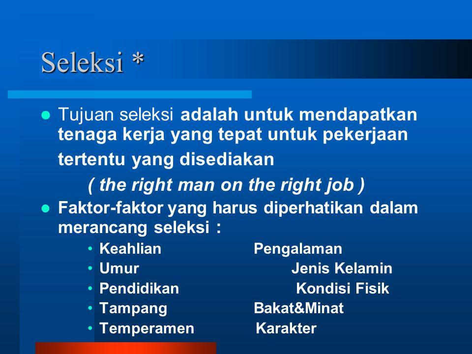 Seleksi * Tujuan seleksi adalah untuk mendapatkan tenaga kerja yang tepat untuk pekerjaan tertentu yang disediakan.