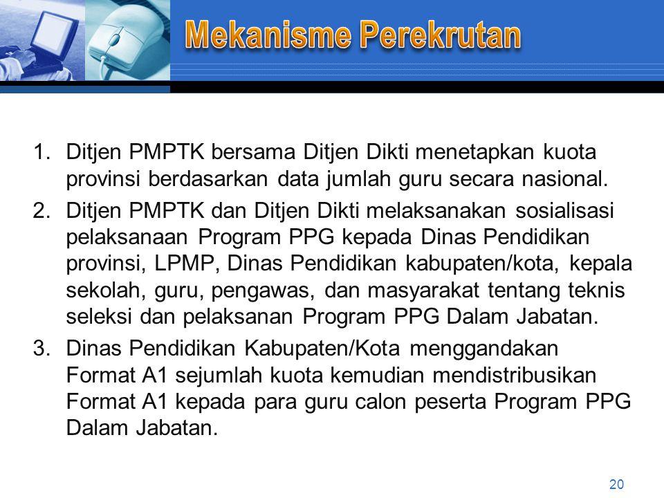 Mekanisme Perekrutan Ditjen PMPTK bersama Ditjen Dikti menetapkan kuota provinsi berdasarkan data jumlah guru secara nasional.