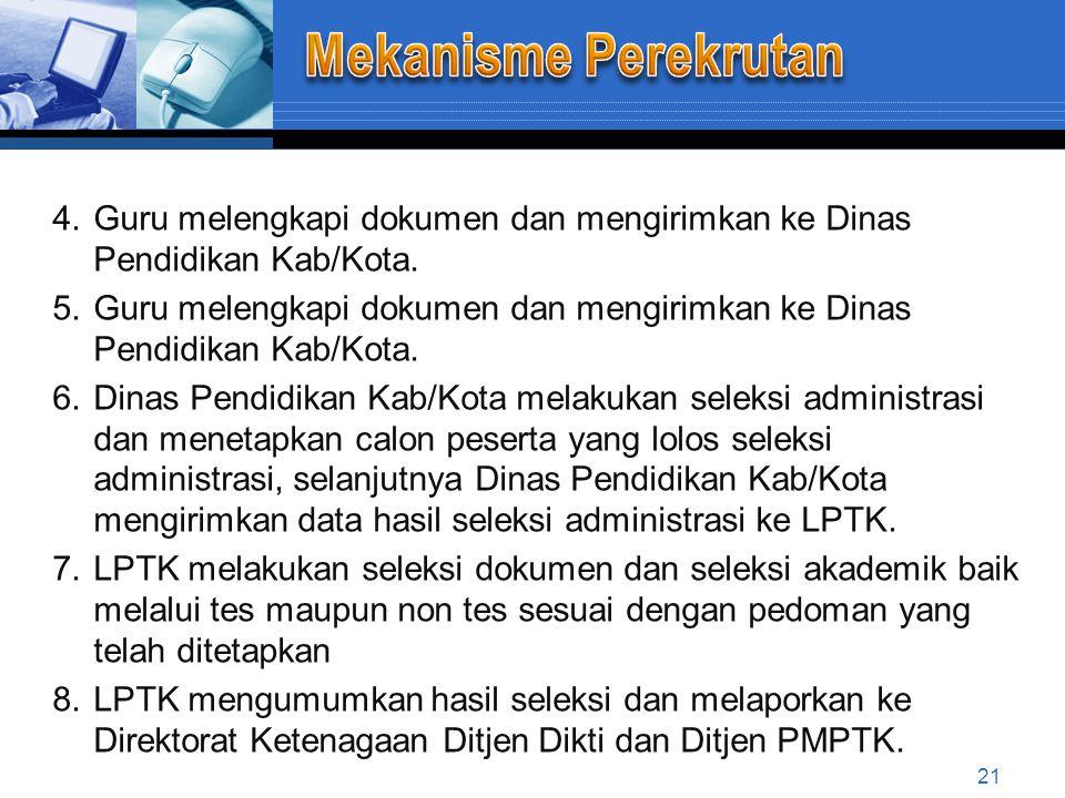 Mekanisme Perekrutan Guru melengkapi dokumen dan mengirimkan ke Dinas Pendidikan Kab/Kota.