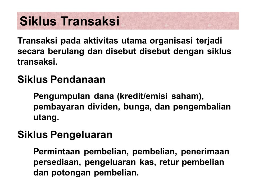 Siklus Transaksi Siklus Pendanaan Siklus Pengeluaran