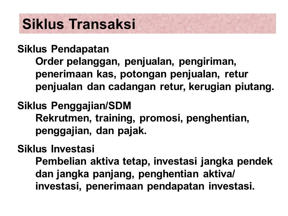 Siklus Transaksi Siklus Pendapatan