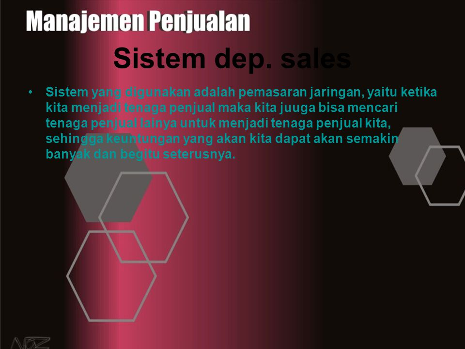 Sistem dep. sales