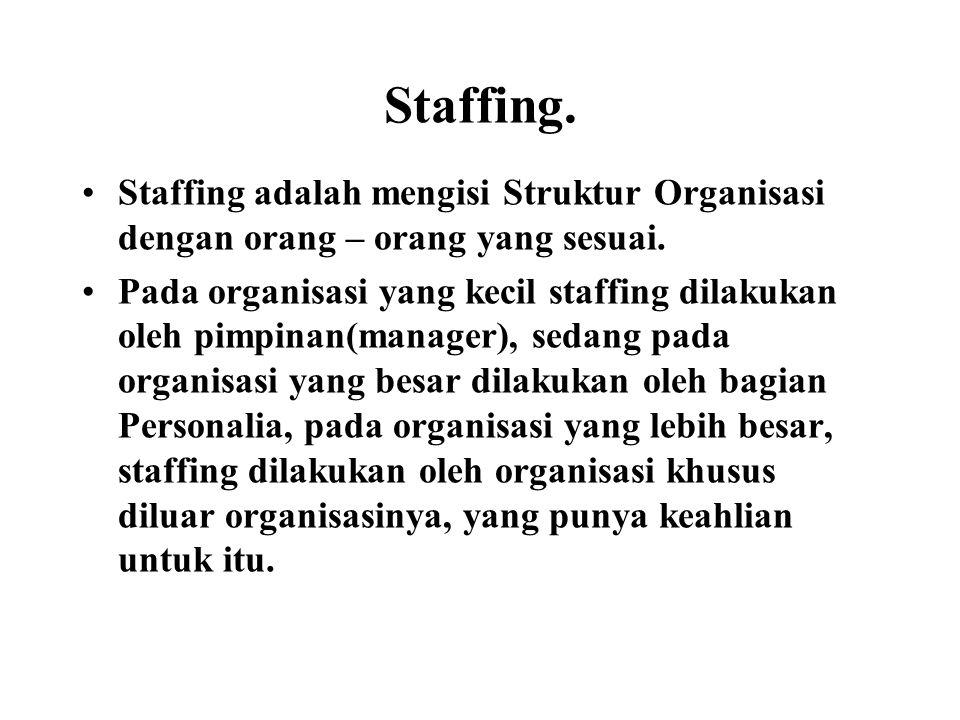 Staffing. Staffing adalah mengisi Struktur Organisasi dengan orang – orang yang sesuai.