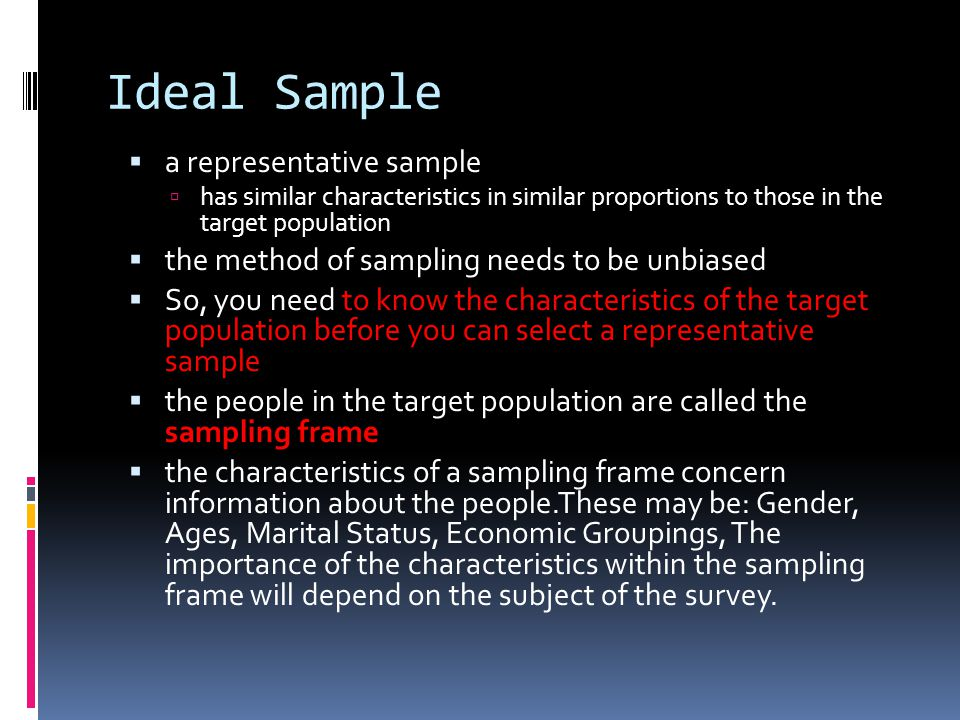 Ideal Sample a representative sample