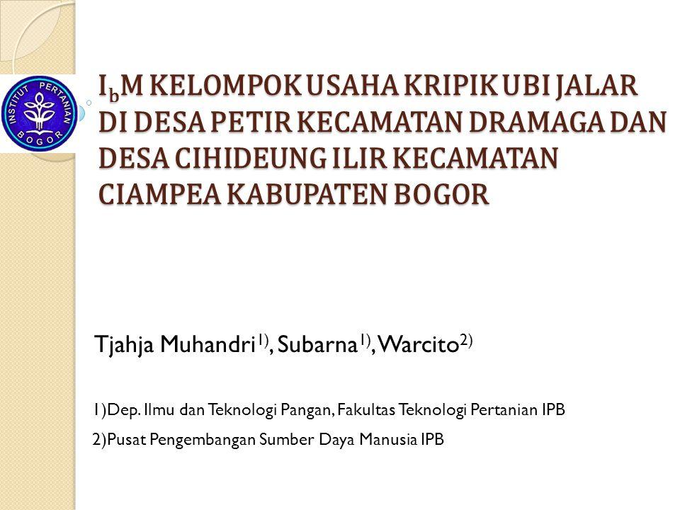 Tjahja Muhandri1), Subarna1), Warcito2)