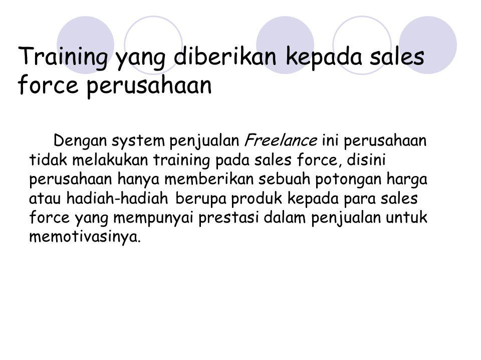 Training yang diberikan kepada sales force perusahaan