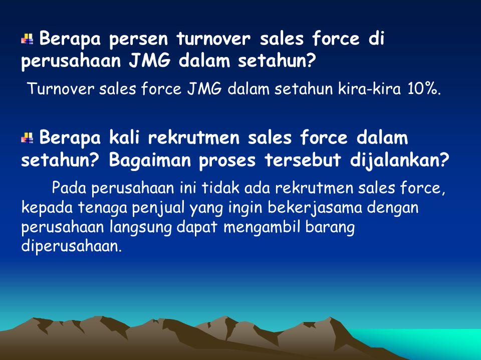 Berapa persen turnover sales force di perusahaan JMG dalam setahun