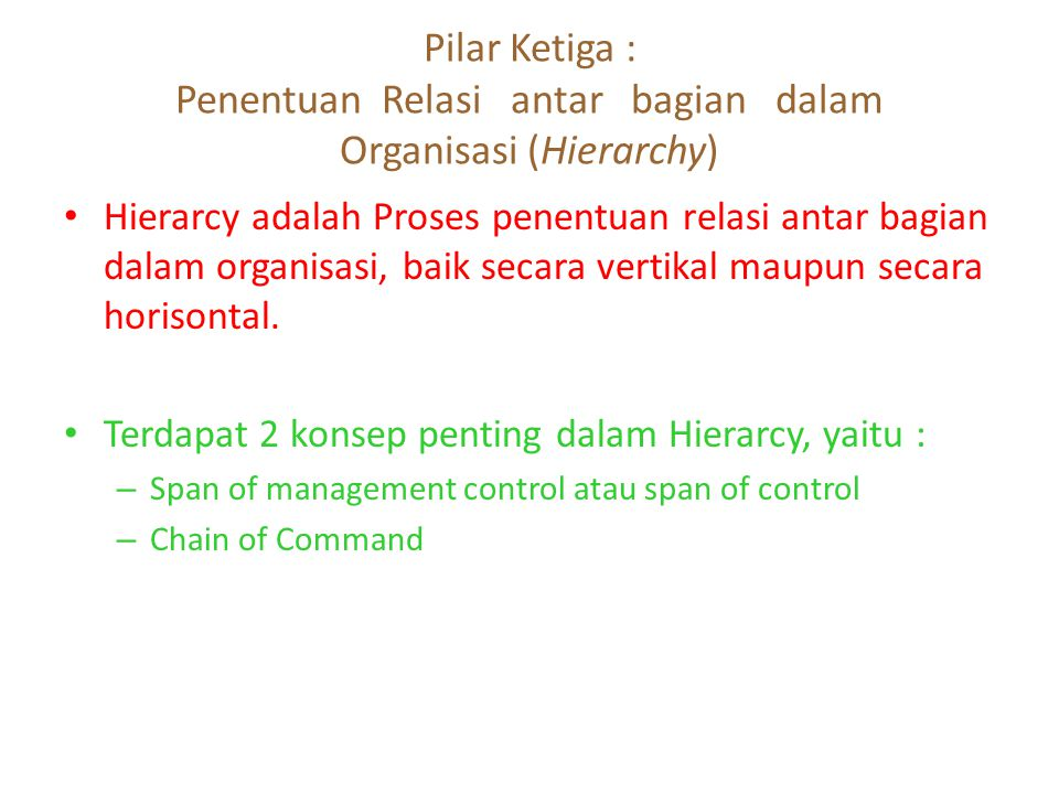 Pilar Ketiga : Penentuan Relasi antar bagian dalam Organisasi (Hierarchy)