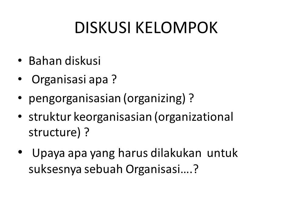 DISKUSI KELOMPOK Bahan diskusi. Organisasi apa pengorganisasian (organizing) struktur keorganisasian (organizational structure)