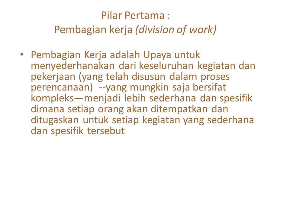 Pilar Pertama : Pembagian kerja (division of work)