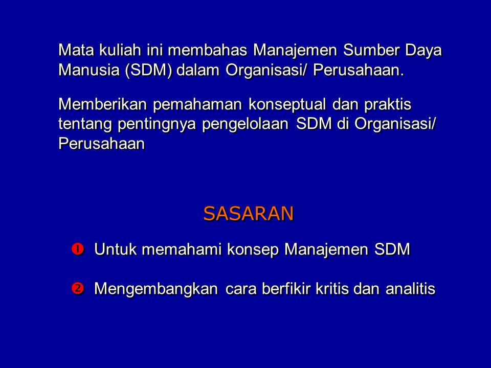 Mata kuliah ini membahas Manajemen Sumber Daya Manusia (SDM) dalam Organisasi/ Perusahaan.