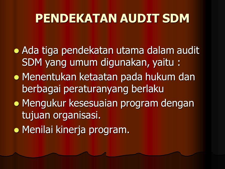 PENDEKATAN AUDIT SDM Ada tiga pendekatan utama dalam audit SDM yang umum digunakan, yaitu :