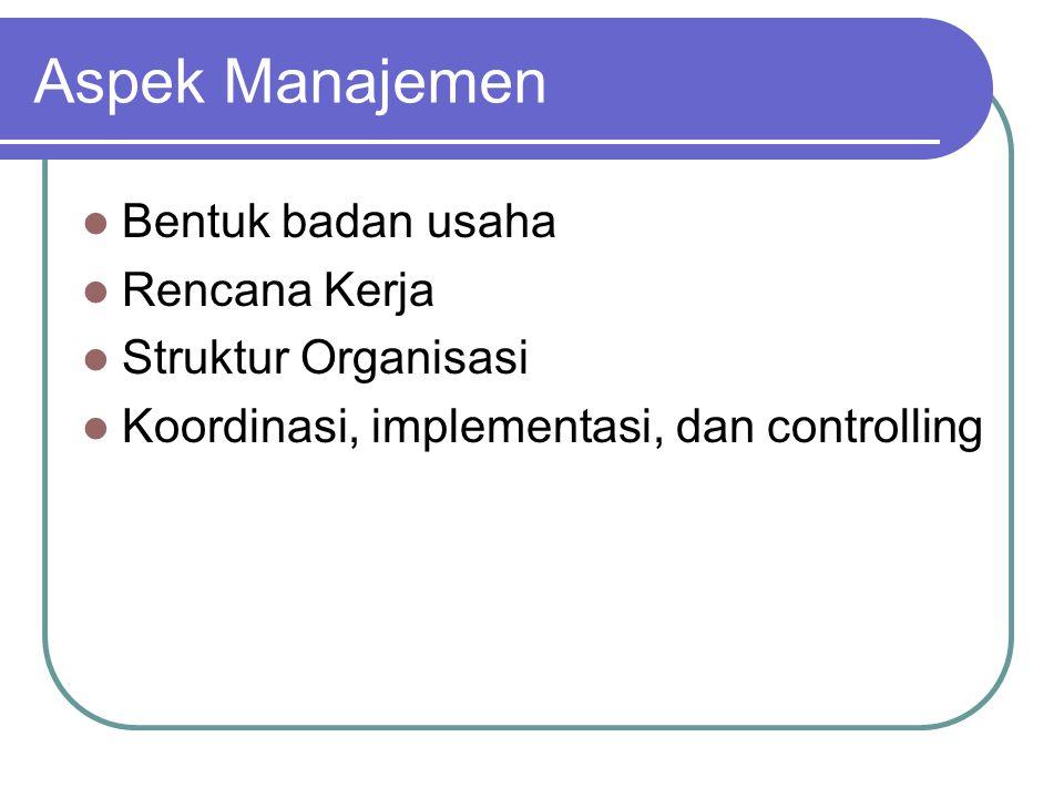 Aspek Manajemen Bentuk badan usaha Rencana Kerja Struktur Organisasi