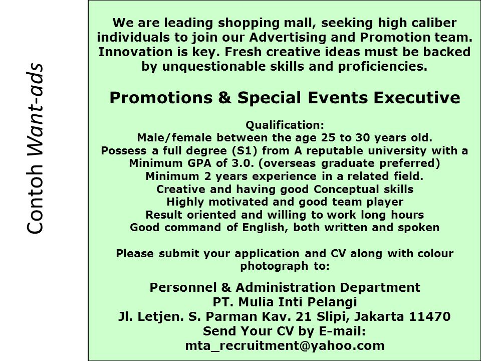 Contoh Want-ads Promotions & Special Events Executive