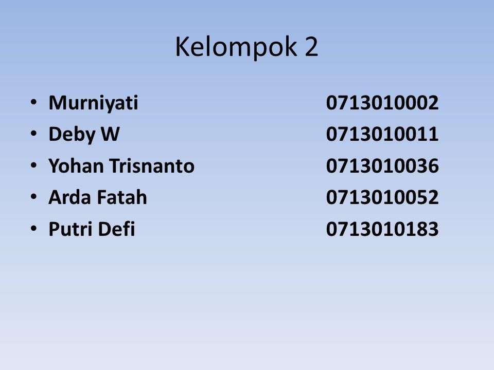 Kelompok 2 Murniyati 0713010002 Deby W 0713010011