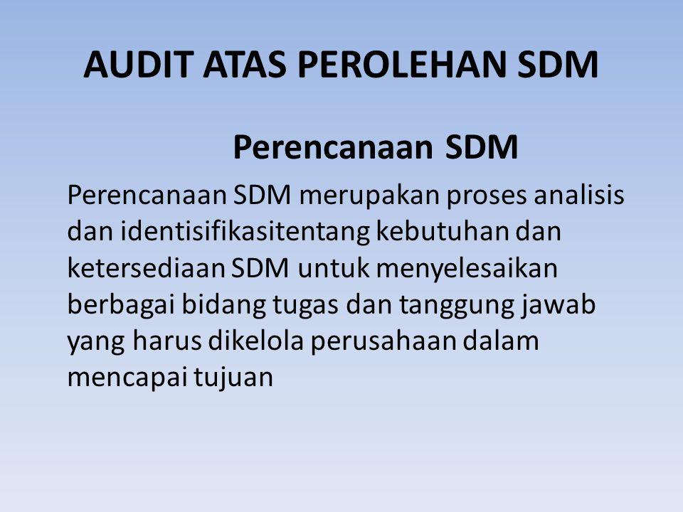 AUDIT ATAS PEROLEHAN SDM
