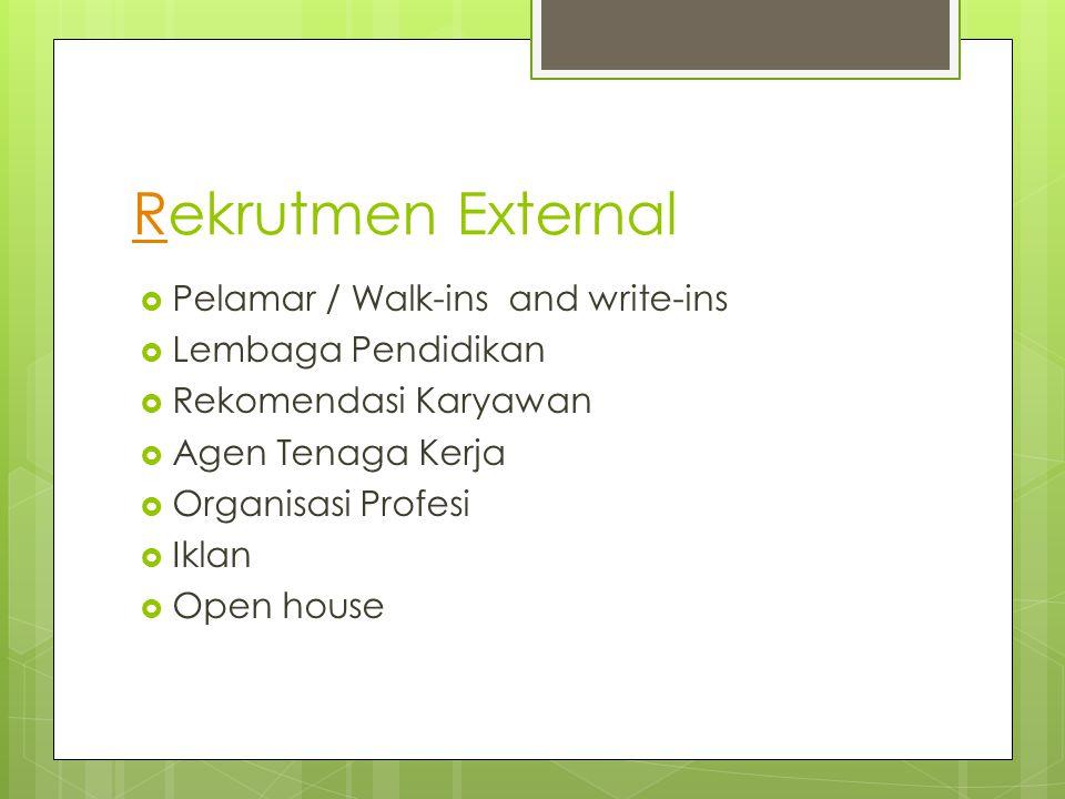Rekrutmen External Pelamar / Walk-ins and write-ins Lembaga Pendidikan
