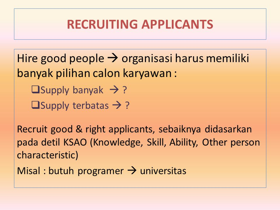 RECRUITING APPLICANTS