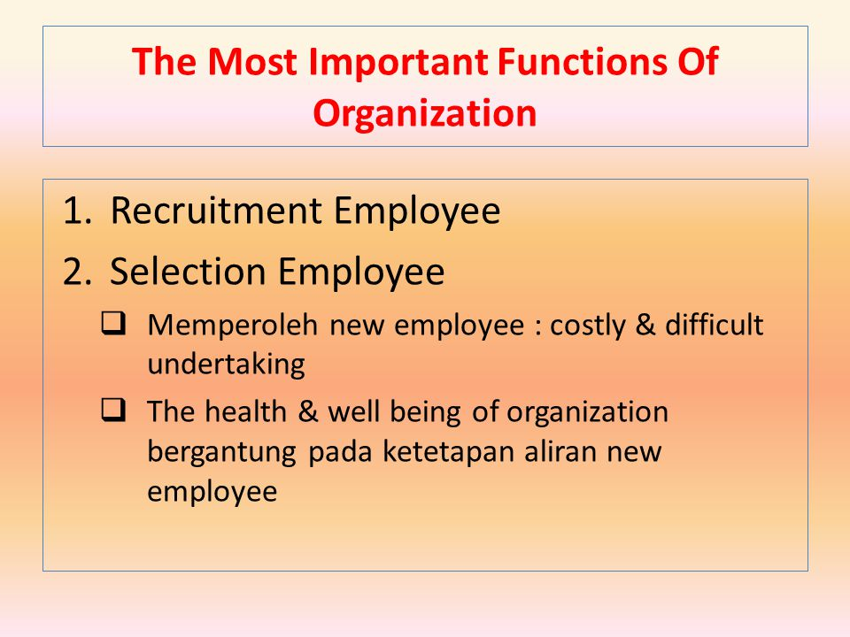 The Most Important Functions Of Organization