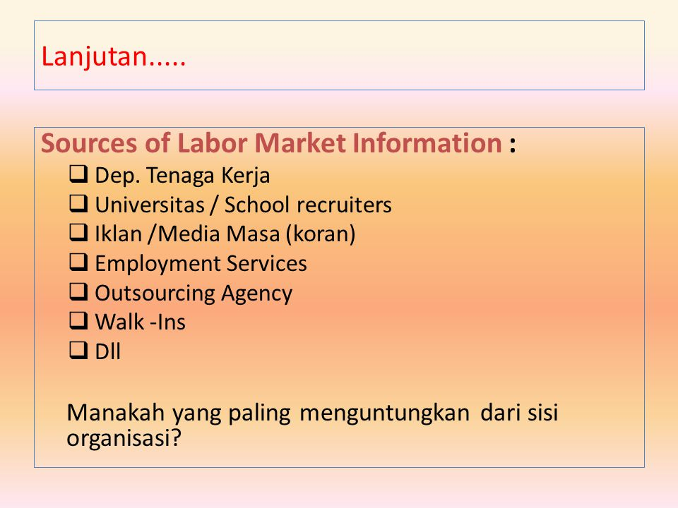 Sources of Labor Market Information :