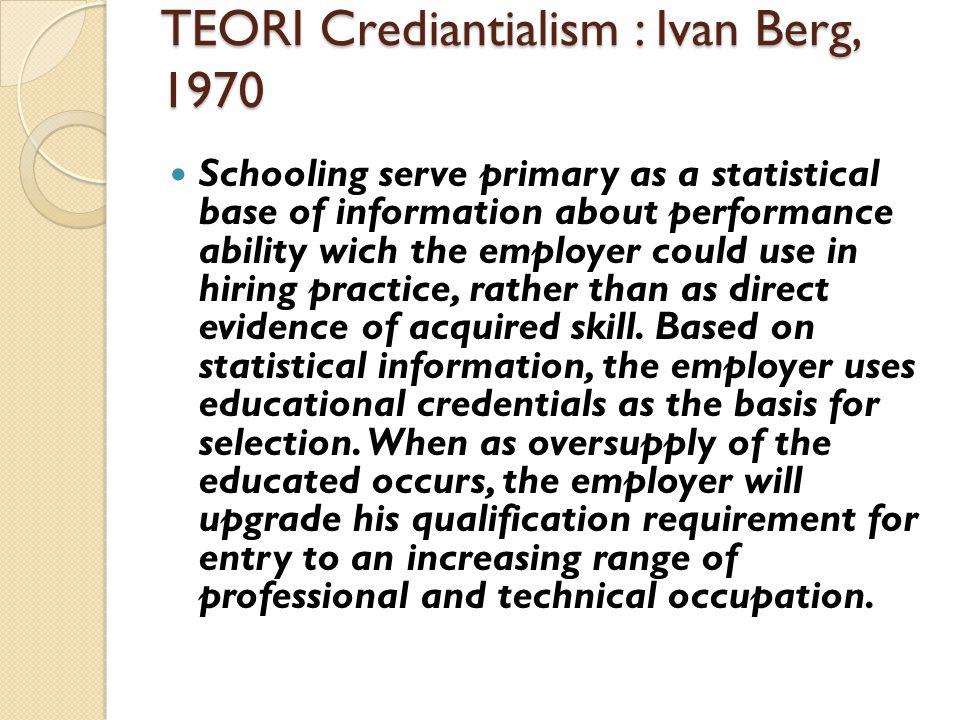 TEORI Crediantialism : Ivan Berg, 1970