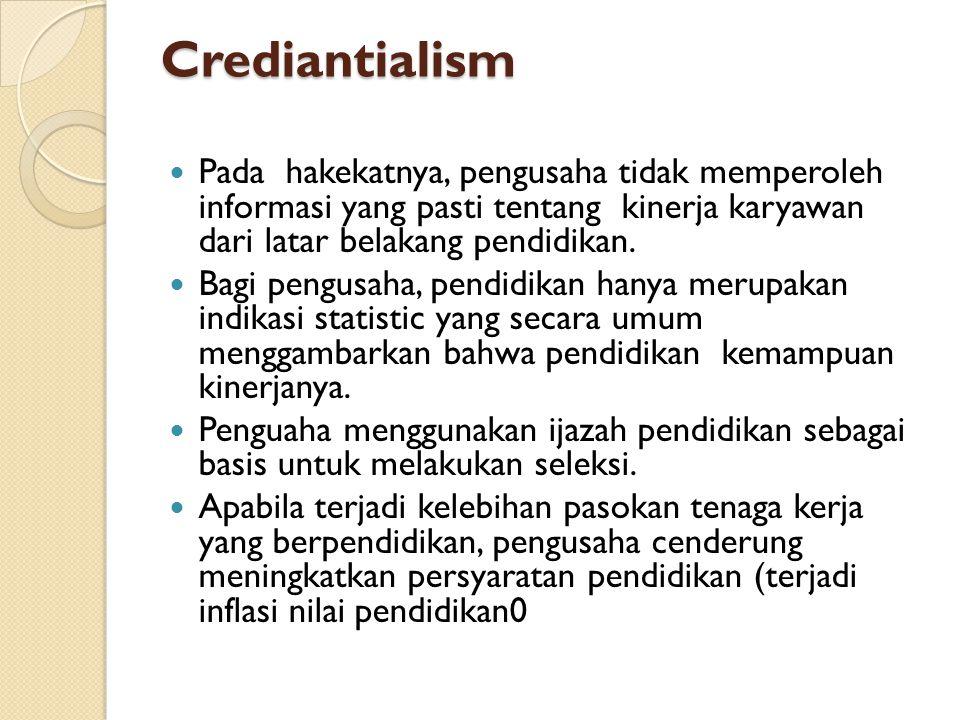 Crediantialism Pada hakekatnya, pengusaha tidak memperoleh informasi yang pasti tentang kinerja karyawan dari latar belakang pendidikan.
